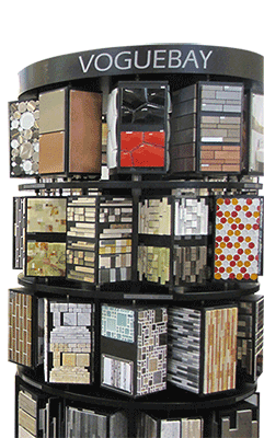 A rack of tile samples